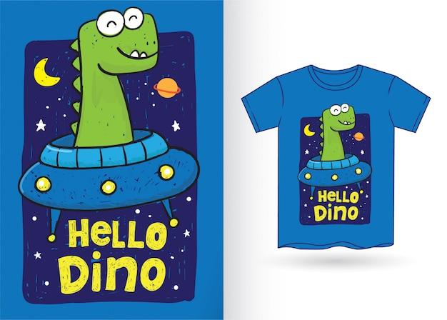 Simpatico dinosauro disegnato a mano per maglietta