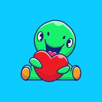 Illustrazione sveglia dell'icona di amore della tenuta del dinosauro. personaggio dei cartoni animati di dino mascot. icona animale concetto isolato