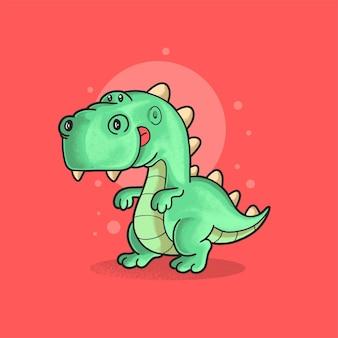 Carino dinosauro illustrazione stile grunge