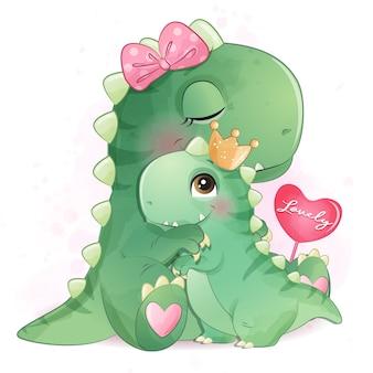 Illustrazione sveglia della madre e del bambino del dinosauro