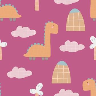 Simpatico modello di dinosauro - disegno senza cuciture di dinosauro infantile disegnato a mano