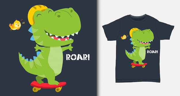 Simpatico dinosauro che gioca a skateboard. con design t-shirt.