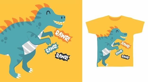 Simpatico disegno della maglietta di dinosauro rawr