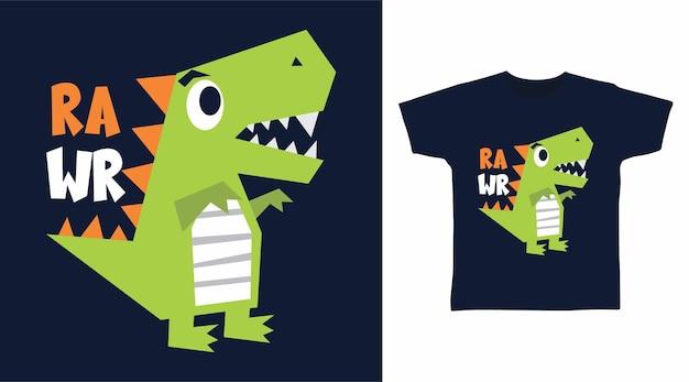 Simpatico dinosauro crudo per il design della maglietta