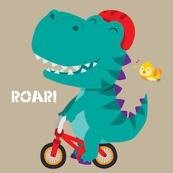 Dinosauro carino in sella a una bicicletta. illustrazione