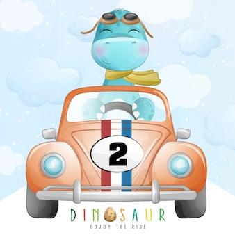 Dinosauro sveglio che guida una macchina da corsa con l'illustrazione dell'acquerello