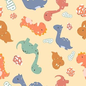 Simpatico dinosauro seamless pattern design