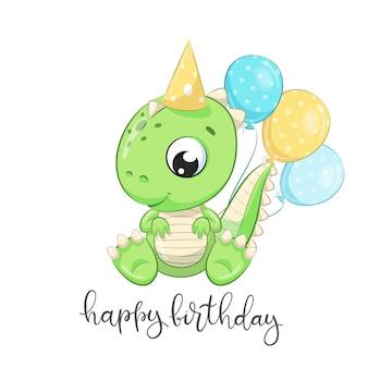 Dinosauro carino con palloncini in stile cartone animato illustrazione