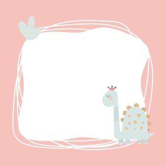 Simpatico dinosauro con cornice macchiata in stile cartone animato semplice disegnato a mano. modello per il tuo testo o foto. ideale per biglietti, inviti, feste, scuola materna, scuola materna e bambini