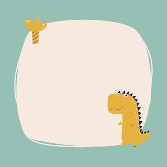 Simpatico dinosauro con cornice macchiata in stile cartone animato semplice disegnato a mano. modello per il tuo testo o foto