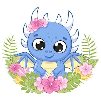 Simpatico dinosauro con fiori e una ghirlanda. illustrazione vettoriale di un cartone animato.