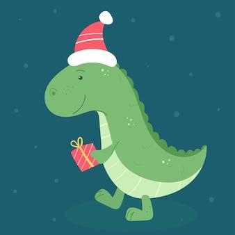 Simpatico dinosauro con regalo e cappello in stile cartone animato.