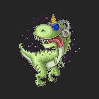 Simpatico dinosauro con illustrazione delle cuffie