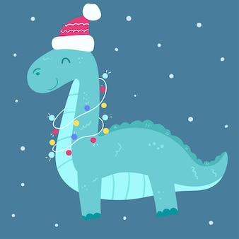Simpatico dinosauro con luce al collo e cappello rosso.