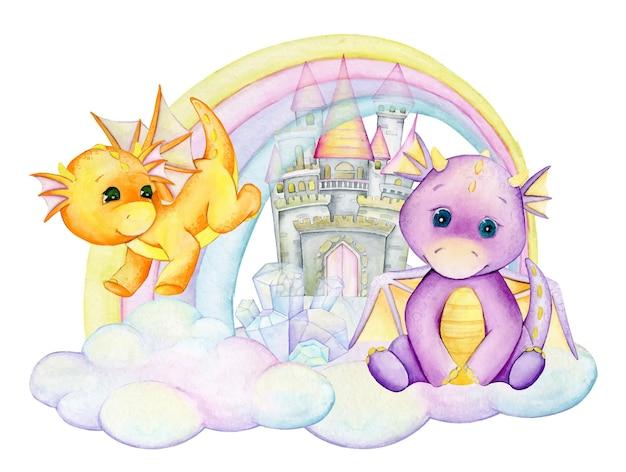Simpatici dinosauri sullo sfondo di un arcobaleno e un castello di pietra. clipart ad acquerello, in stile cartone animato