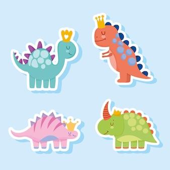 Animali preistorici del fumetto sveglio dei dinosauri nell'illustrazione di vettore di stile dell'autoadesivo