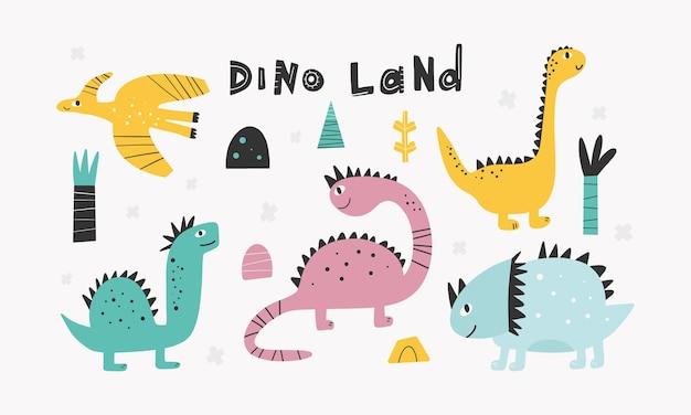 Collezione di simpatici dinosauri in stile cartone animato elementi di design illustrazione colorato bambino carino