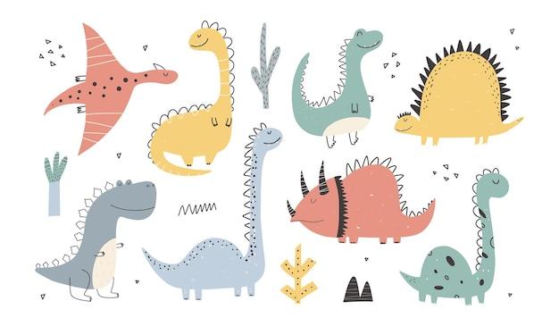 Collezione di simpatici dinosauri in stile cartone animato. illustrazione variopinta del bambino carino