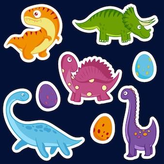 Simpatici dinosauri disegnati a mano adesivi vettoriali in stile cartone animato. dino clipart piatte. illustrazione vettoriale.