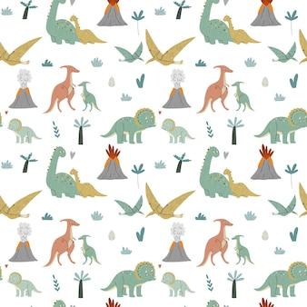 Simpatici dinosauri, mamma e bambino. era preistorica. illustrazione dei bambini. Vettore Premium