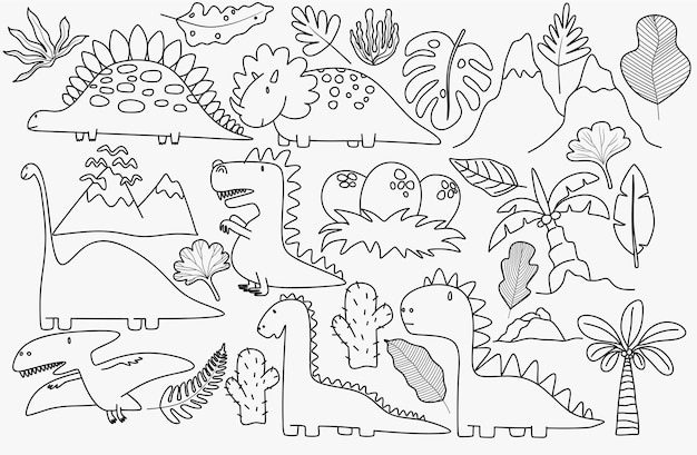 Simpatici dinosauri e piante tropicali