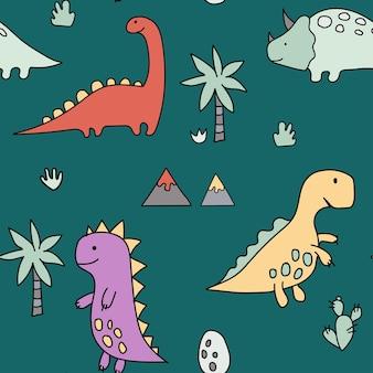 Simpatici dinosauri piante tropicalimontagne uovo divertente cartone animato dino seamless pattern