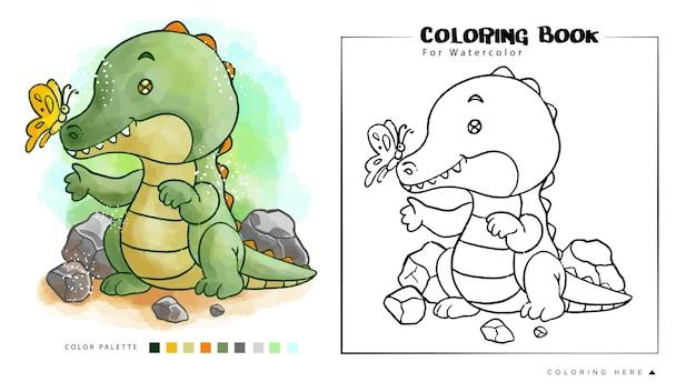 Simpatici dinosauri acquerello per libro da colorare