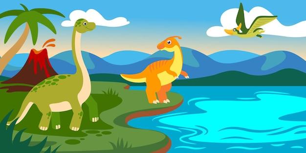 Simpatici dinosauri con paesaggio cartone animato dino scena preistorica con lago vulcano montagna palma