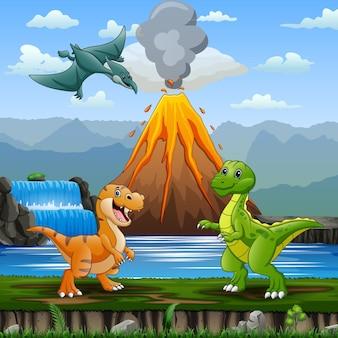 Dinosauri carini con illustrazione di sfondo in eruzione del vulcano