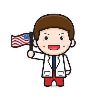 Fumetto sveglio del dottore che tiene l'illustrazione della bandiera degli stati uniti d'america