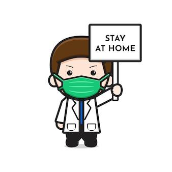 Simpatico medico che tiene la scheda soggiorno a casa icona del fumetto. disegno isolato su bianco. stile cartone animato piatto. Vettore Premium