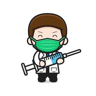 Medico carino tenendo la siringa icona del fumetto illustrazione vettoriale. disegno isolato su bianco. stile cartone animato piatto. Vettore Premium