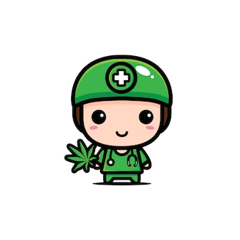 Carino dottore sta tenendo la marijuana
