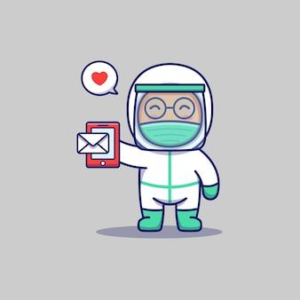 Medico carino che riceve un messaggio sul suo smartphone