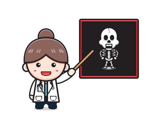 Medico carino mostra l'icona del fumetto di scansione ossea. progetta lo stile dei cartoni animati piatti isolati