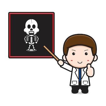 Medico carino mostra l'icona del fumetto di scansione ossea. disegno isolato su bianco. stile cartone animato piatto.