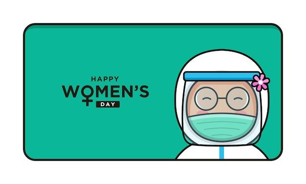 Medico carino con saluto di giorno della donna felice