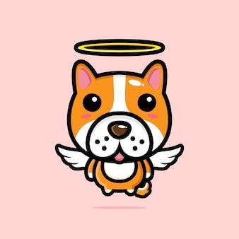 Simpatico personaggio di angelo cane design