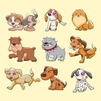 Insieme di vettore animale cane carino