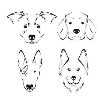Insieme di logo di arte di linea carina cane razza