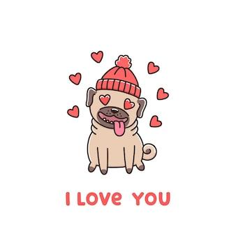 Carlino di razza di cane carino in cappello innamorato la scritta ti amo
