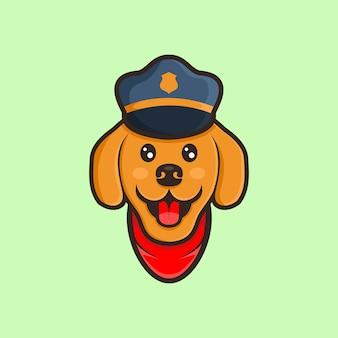 Vettore di disegno del fumetto di cane sveglio con cappello polic