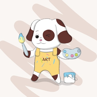 Disegnato a mano sveglio del fumetto del cane