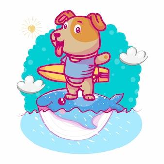 Simpatico cartone animato cane con surfista e balena