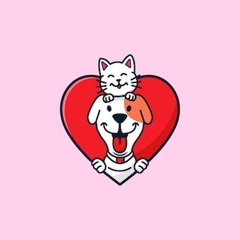 Illustrazione di cartone animato carino cane e gatto