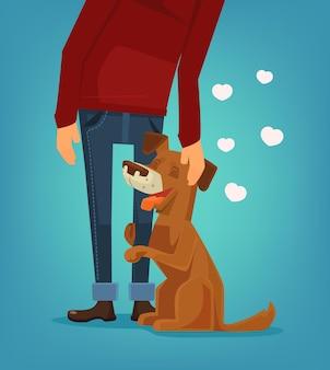 Il simpatico personaggio del cane abbraccia il suo proprietario