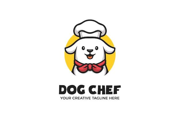 Modello di logo del personaggio della mascotte dei cartoni animati dello chef del cane carino