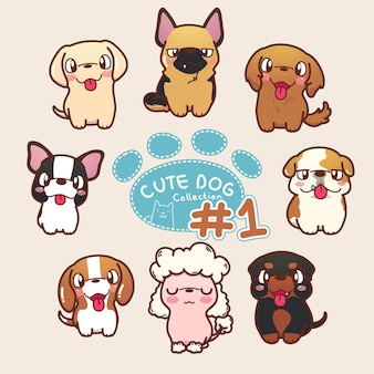 Collezione di cani carino