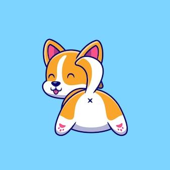 Cute dog corgi butt cartoon icon illustration.