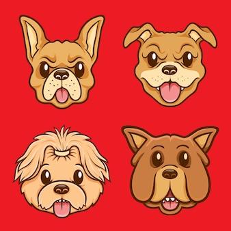 Set di illustrazioni per personaggi faccia di cane carino